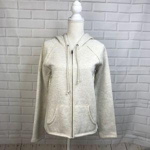 Hem & Thread Women Hoodie Zip Up Jacket Light Gray